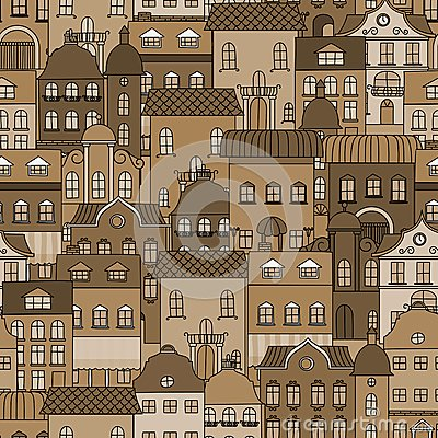 Ancient city seamless pattern