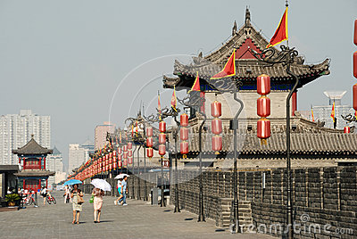 Ancient city wall in xian Editorial Stock Photo