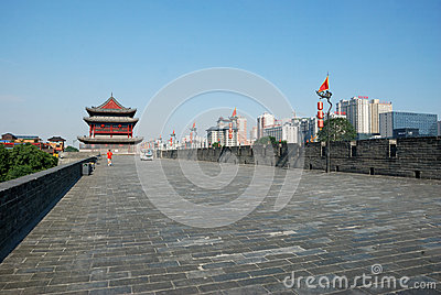 Ancient city wall in xian Editorial Stock Image
