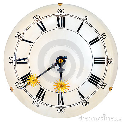 Ancient Clock Face With Small Golden Sun Clock Hands Stock Photo ...