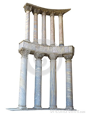 Free Ancient Colonnade Marble Stone Columns Isolated On White Backgro Royalty Free Stock Image - 110048996