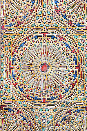 Ancient colored wood pattern from Morocco