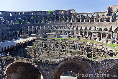 Ancient Colosseum Inside Rome Italy