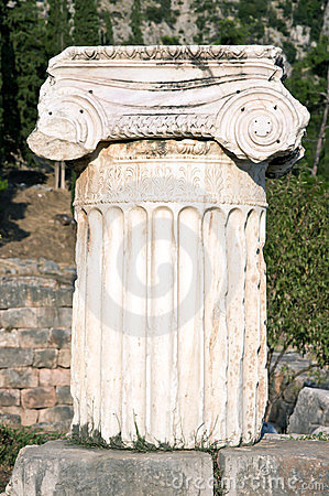 Ancient column. Archaeological Site of Delphi