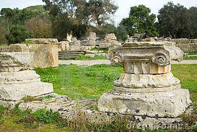 Ancient columns in Archea Olympia, Greece