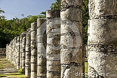 Ancient Columns at Chichen Itza Mexico