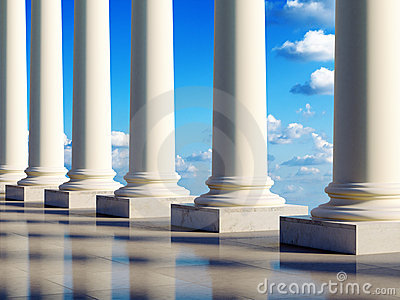 Ancient columns in clouds