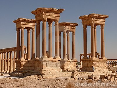 Ancient columns, girl, Palmyra