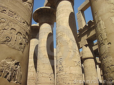 Ancient Columns at Karnak Temple in Egypt