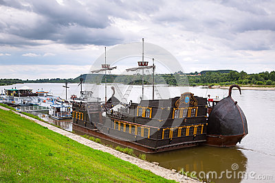 Ancient criuse ship on the Vistula river