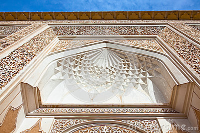 Ancient decorated facade wall in Yazd, Iran