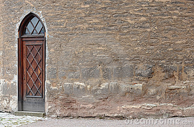 Ancient Door And Brickwall