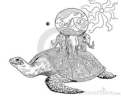 Ancient Earth on the turtle and three elephants