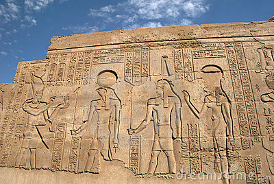 Ancient Egyptian bas-relief on the wall