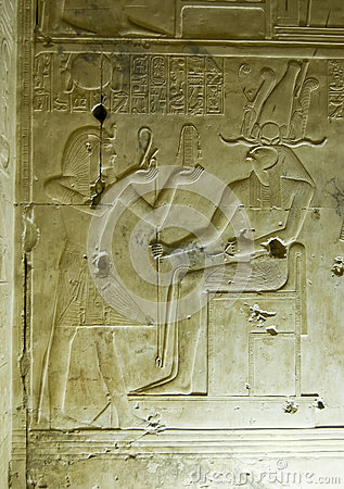 Ancient Egyptian carving, Seti and Horus