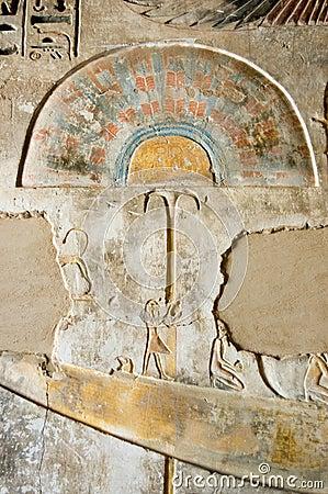Ancient Egyptian fan fresco
