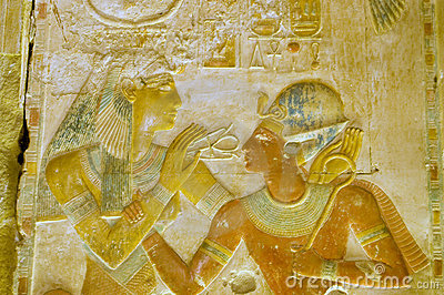 Ancient Egyptian goddess Hathor with Pharaoh Seti
