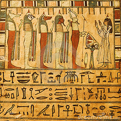 Ancient Egyptian gods and hieroglyphics