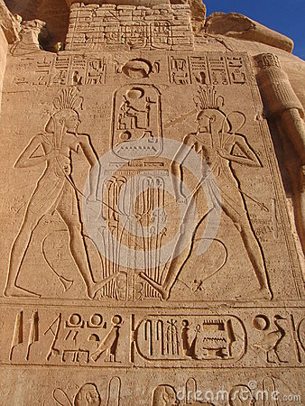 Ancient egyptian hieroglyphics in Abu Simbel
