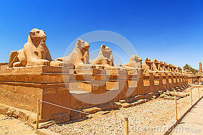Ancient egyptian statues in Karnak temple