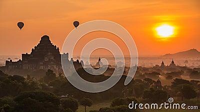 Ancient Empire Bagan Of Myanmar And Balloons On Sunrise. Ancient Empire Bagan Of Myanmar (Burma) And Balloons On Sunrise stock footage