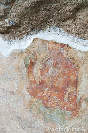 Ancient famous wall frescoes at Sigirya, Sri Lanka