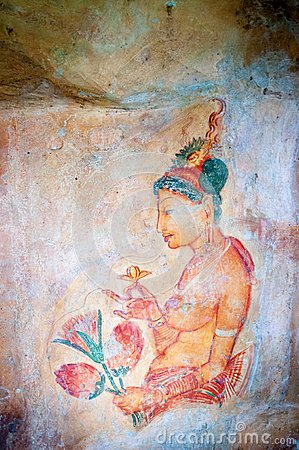 Ancient famous wall frescoes at Sigirya Sri Lanka