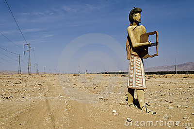 Ancient figures at entrance to Timna park, Israel