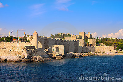 An ancient fortification round an old city.Rhodes.