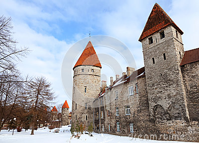 Ancient fortress walls with towers in Tallinn