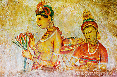 Ancient frescos on mount Sigiriya ( Ceylon )