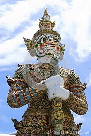 Ancient giant sculpture of The Emerald Buddha temple