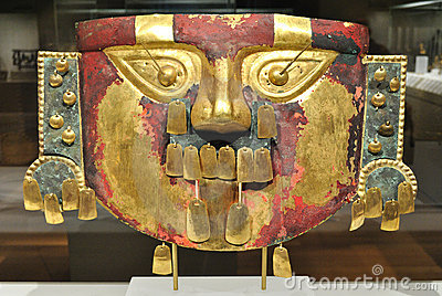 Ancient Gold Inca Mask Editorial Photography
