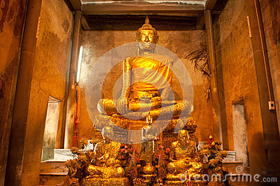 Ancient golden buddha in Thai church.
