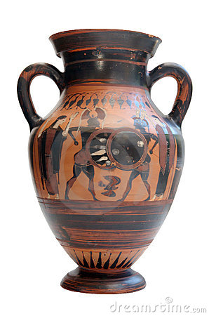 Ancient greek amphora isolated