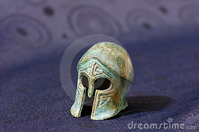Ancient Greek battle helmet