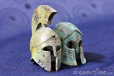 Ancient Greek battle helmets