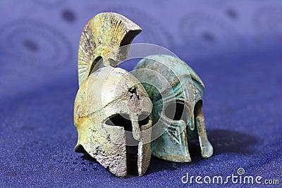 Ancient Greek battle helmets