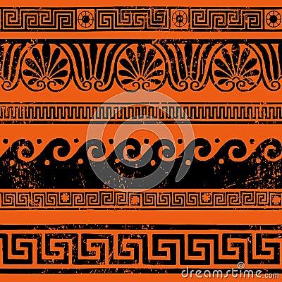 Ancient Greek border ornaments, meanders Vector Illustration