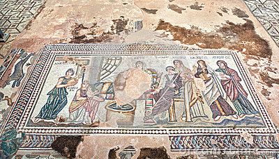 Ancient Greek mosaic in Paphos Archaeological Park at Cyprus