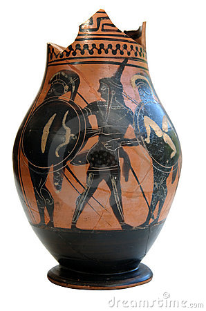 Ancient greek ornamented vessel