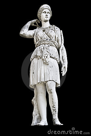 Ancient Greek statue showing Goddess Athena