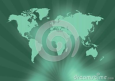Ancient green world map