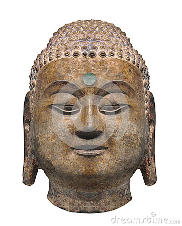 Ancient head statue of  Buddha isolated