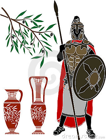 Ancient hellenic warrior and jugs