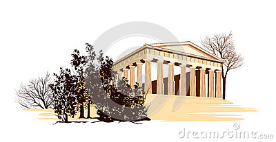 Ancient greece temple with trees