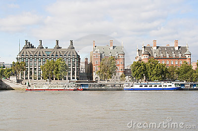 Ancient houses across the river Thames in London