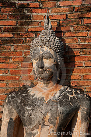 Ancient image Buddha statue in Sukhothai city.