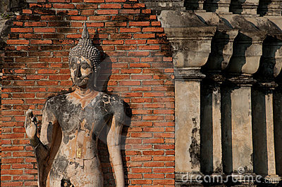 Ancient image Buddha statue in Sukhothai city. .