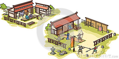 Ancient Japanese samurai training camp and the sta